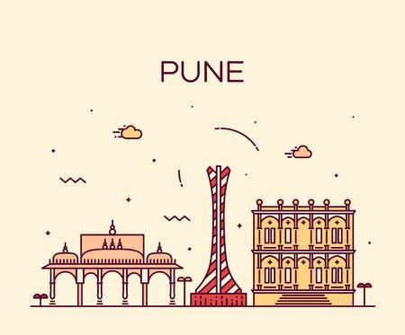 Pune skyline detailed silhouette Trendy vector illustration linear style Illustration
