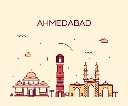 Ahmedabad skyline detailed silhouette Trendy vector illustration linear style