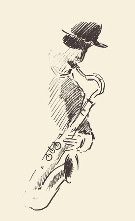 Concept for jazz poster Man playing saxophone Vintage hand drawn illustration sketch