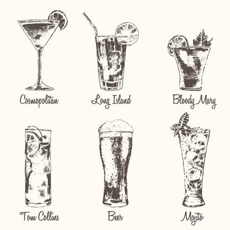 coquetel: Jogo dos cocktail Cosmopolitan Tom Collins Bloody Mary Long Island Beer Mojito Vintage gravado ilustração vetorial desenhado à mão Ilustração