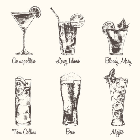 Set of cocktails Cosmopolitan Tom Collins Bloody Mary Long Island Beer Mojito Vintage engraved vector illustration hand drawn Ilustração