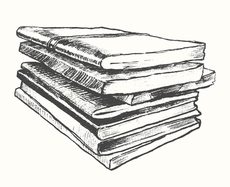 old hand: Pile of old books vintage hand drawn vector illustration sketch engraved style