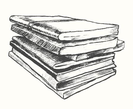 sketch book: Pile of old books vintage hand drawn vector illustration sketch engraved style