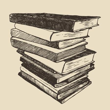 古い本ヴィンテージ手描きベクトル イラストの山スケッチ刻まれたスタイル 写真素材 - 43715548