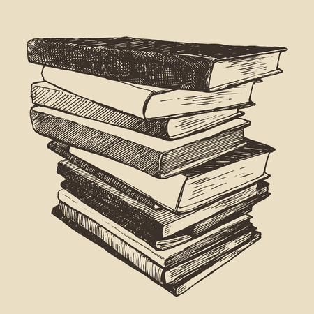 Pile of old books vintage hand drawn vector illustration sketch engraved style