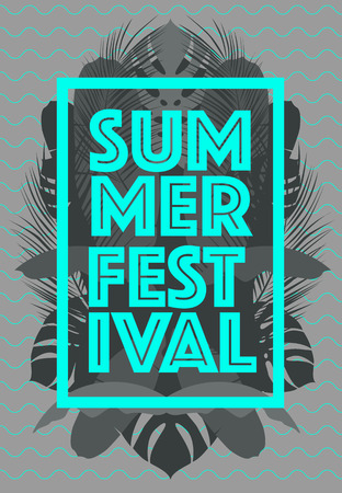 Summer Time poster Text with frame on tropical leaves background Trendy vector illustration