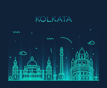 kolkata: Kolkata skyline detailed silhouette Trendy vector illustration linear style Illustration