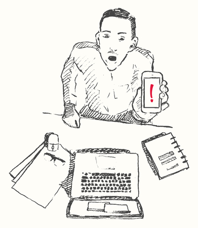 draw a sketch: Sketch of man with phone attention hand drawn vector illustration Top view