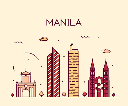 Manila skyline detailed silhouette Trendy vector illustration line art style
