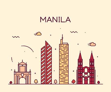 Manila skyline gedetailleerde silhouet Trendy vector illustratie lijn art stijl