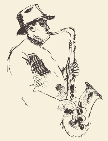 jazz: Concept for jazz poster Man playing saxophone Vintage hand drawn illustration sketch