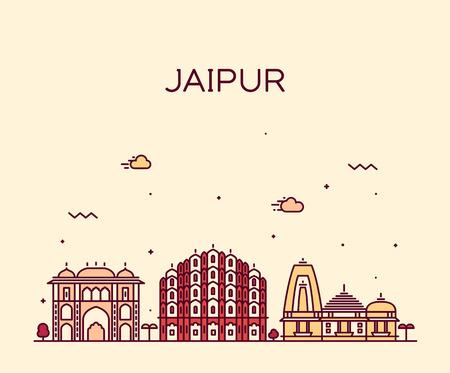Jaipur skyline detailed silhouette Trendy vector illustration, linear style