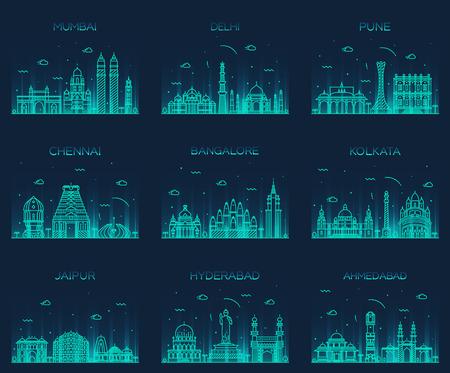 stile: Set di citt� indiane skylines Mumbai Delhi Jaipur Calcutta Hyderabad Ahmedabad Pune Chennai Bangalore Trendy illustrazione vettoriale stile lineare