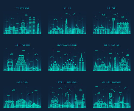 Set of Indian cities skylines Mumbai Delhi Jaipur Kolkata Hyderabad Ahmedabad Pune Chennai Bangalore Trendy vector illustration linear style Illustration
