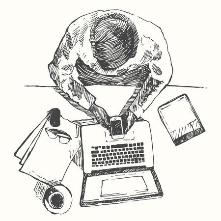 trabajo oficina: Bosquejo de las manos con el hombre de ordenador que hacen trabajo de oficina vista superior dibujado a mano ilustración vectorial