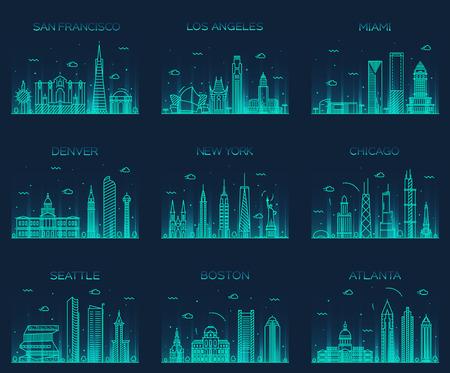 Денвер: Американские города Сан-Франциско Нью-Йорк Лос-Анджелес Чикаго Майами Атланта Бостон Сиэтл Денвер горизонты подробно силуэт Модный вектор линейном стиле Иллюстрация