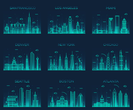 lineal: Horizontes ciudades estadounidenses de San Francisco Nueva York Chicago Los Angeles Miami Atlanta Boston Seattle Denver silueta detallada ilustración del vector de moda estilo lineal
