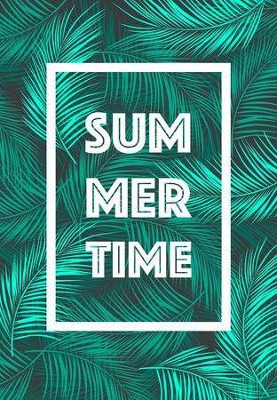 熱帯のフレームと夏の時間ポスター本文葉背景トレンディなベクトル図
