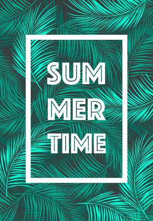 Summer Time poster Text with frame on tropical leaves background Trendy vector illustration Vettoriali