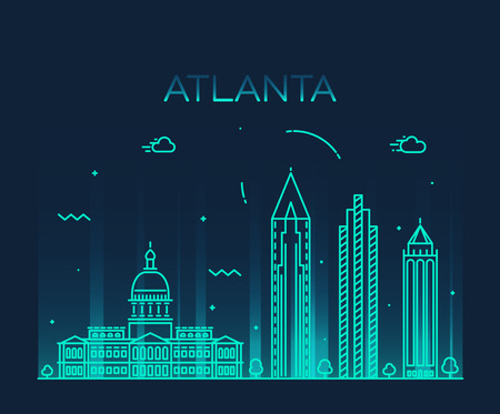 Atlanta skyline detailed silhouette Trendy vector illustration linear style Illustration