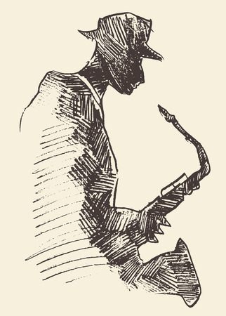 funk: Concept for jazz poster Man playing saxophone Vintage hand drawn illustration sketch