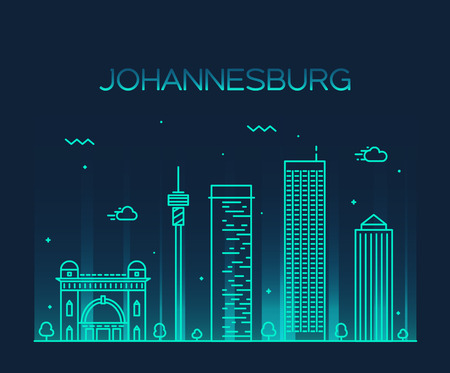 johannesburg: Johannesburg skyline detailed silhouette Trendy vector illustration linear style Illustration
