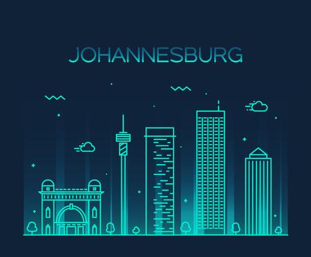 Johannesburg skyline detailed silhouette Trendy vector illustration linear style Illustration