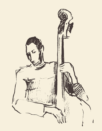 jazz: Concept for jazz poster Man playing double bass Vintage hand drawn illustration sketch