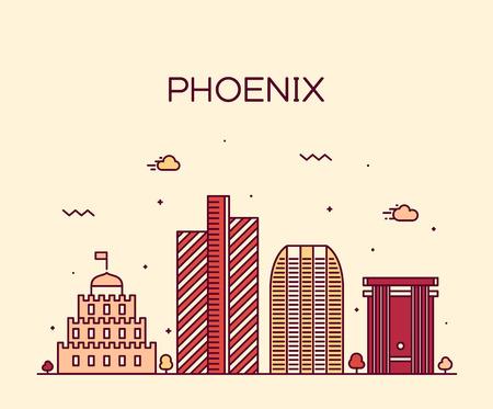 ave fenix: Horizonte de Phoenix silueta detallada ilustración del vector de moda estilo lineal