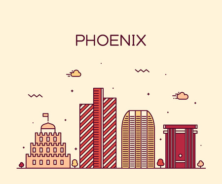 phoenix arizona: Phoenix skyline detailed silhouette Trendy vector illustration linear style