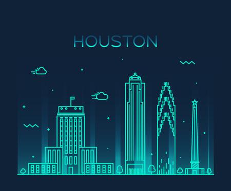 sky line: Houston skyline detailed silhouette Trendy vector illustration linear style Illustration