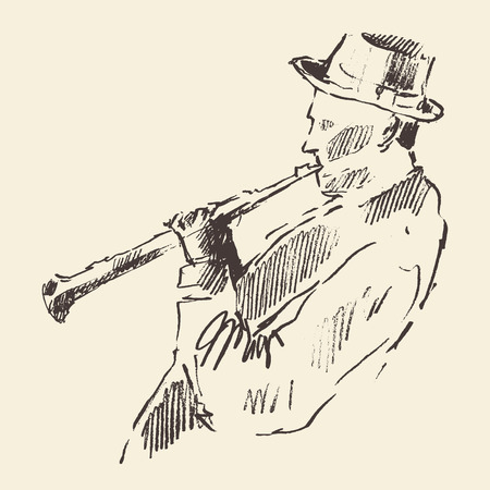 funk: Concept for jazz poster Man playing Clarinet Vintage hand drawn illustration sketch