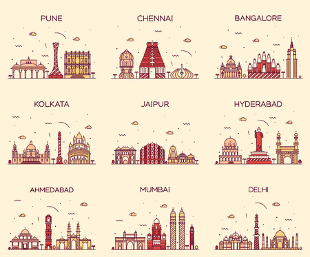 Set of Indian cities skylines Mumbai Delhi Jaipur Kolkata Hyderabad Ahmedabad Pune Chennai Bangalore Trendy vector illustration linear style