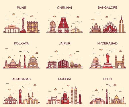 kolkata: Set of Indian cities skylines Mumbai Delhi Jaipur Kolkata Hyderabad Ahmedabad Pune Chennai Bangalore Trendy vector illustration linear style Illustration