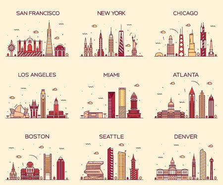 Horizontes ciudades estadounidenses de San Francisco Nueva York Chicago Los Angeles Miami Atlanta Boston Seattle Denver silueta detallada ilustración del vector de moda estilo lineal