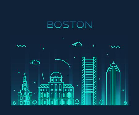trendy: Boston skyline detailed silhouette Trendy vector illustration linear style Illustration