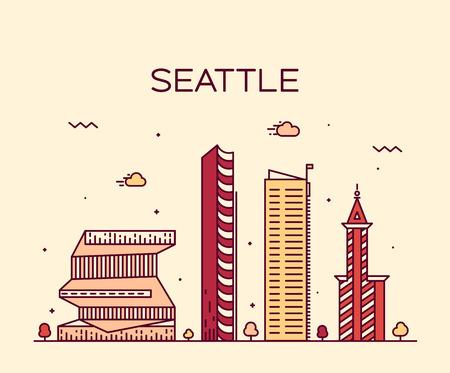 seattle: Seattle skyline detailed silhouette Trendy vector illustration linear style Illustration