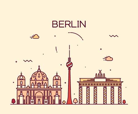ベルリンのスカイライン詳細シルエット線形スタイルのトレンディーなベクトル イラスト