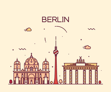 Berlin skyline detailed silhouette Trendy vector illustration linear style