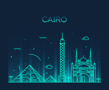 Cairo skyline detailed silhouette Trendy vector illustration linear style Illustration