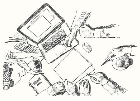 Schets van een getekende succesvolle zakelijke bijeenkomst handdruk partnerschap bovenaanzicht de hand vector illustratie