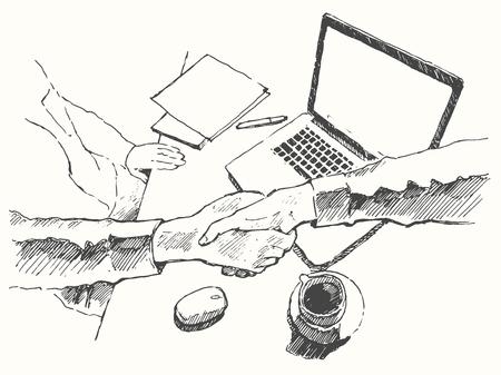 boceto: Bosquejo de un ejemplo del vector dibujado asociación handshake visitas de negocios vista superior mano