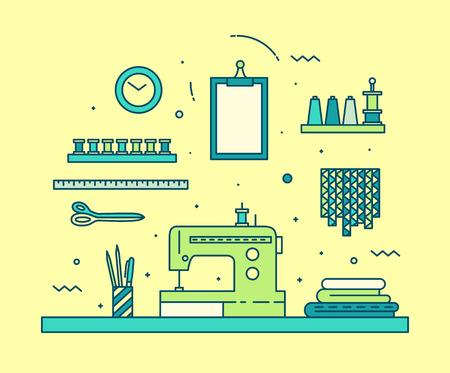 costurera: Espacio de trabajo costurera moderno estilo lineal tijeras hilo tejido M�quina de coser en colores de moda hechas a mano Vectores