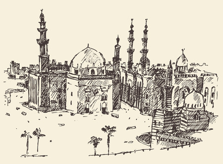 sketch drawing: Cairo, big city architecture vintage engraved illustration hand drawn sketch