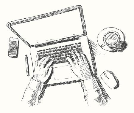 Schizzo di mani con il computer che fa lavoro ufficio vista dall'alto disegnati a mano illustrazione vettoriale Vettoriali