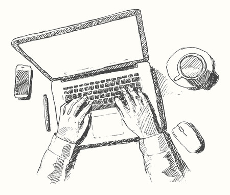 computer work: Sketch of hands with computer man doing office work top view hand drawn vector illustration