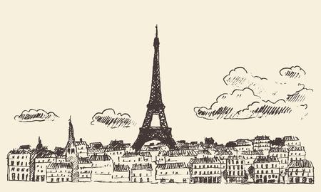 frances: Dibujado Horizonte de París Francia cosecha ilustración grabada mano