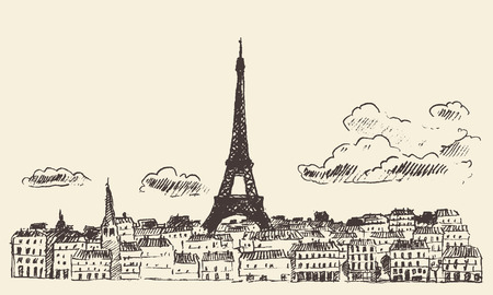 french: Paris skyline France vintage engraved illustration hand drawn