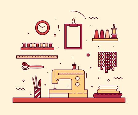 coser: Espacio de trabajo costurera moderno estilo lineal tijeras hilo tejido Máquina de coser en colores de moda hechas a mano Vectores