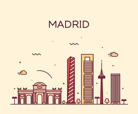 Madrid skyline detailed silhouette Trendy vector illustration linear style  イラスト・ベクター素材